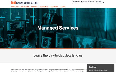 Screenshot of Services Page magnitude.com - Managed Services   Magnitude Software - captured Oct. 3, 2019