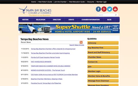 Screenshot of Press Page tampabaybeaches.com - Tampa Bay Beaches  News | Tampa Bay Beaches | Tampa Bay Beaches Chamber of Commerce | St. Pete Beach, FL - captured Jan. 15, 2016