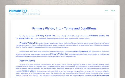 Screenshot of Terms Page pvmic.com - Primary Vision - Market Intelligence & Consulting - captured Oct. 3, 2014