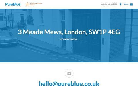 Screenshot of Contact Page pureblue.co.uk - Contact Us - PureBlue - captured Sept. 25, 2014