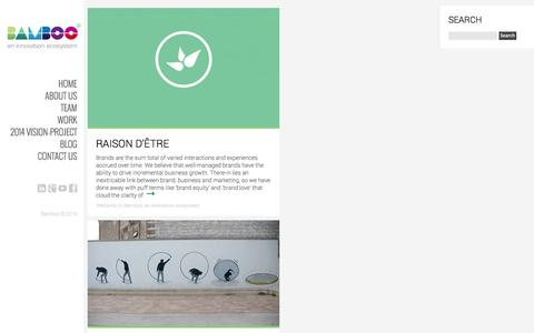 Screenshot of Home Page bamboonetwork.co.za - Bamboo, an innovation ecosystem - captured Oct. 5, 2014
