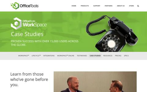 Screenshot of Case Studies Page officetools.com - Case Studies - Office Tools - captured Jan. 18, 2016
