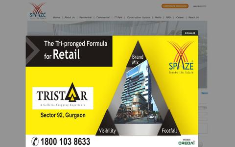 Screenshot of Home Page spaze.in - Gurgaon Property, Retail Space and Apartments with Spaze - captured Sept. 24, 2014