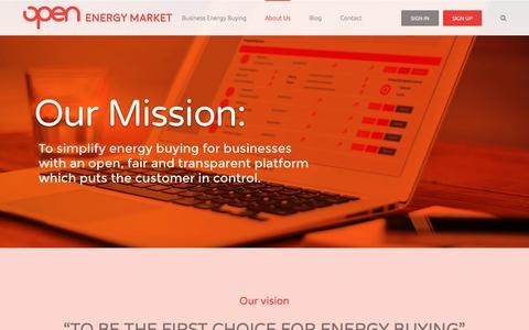 Screenshot of About Page openenergymarket.com - About Open Energy Market - Open Energy Market - captured Dec. 5, 2016