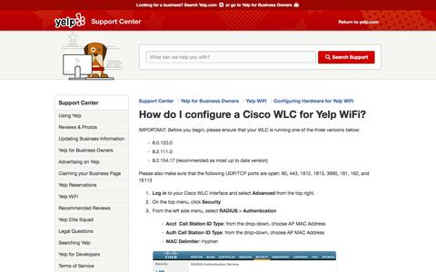 How do I configure a Cisco WLC for Yelp WiFi?   Support Center   Yelp