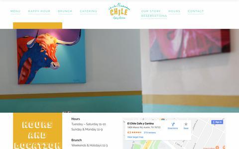 Screenshot of Hours Page elchilecafe.com - Hours – El Chile Cafe - captured Nov. 10, 2018
