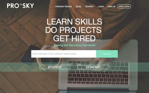 Screenshot of Home Page prosky.co - Learn Digital Skills, Do Projects & Get Hired. - captured Oct. 13, 2015