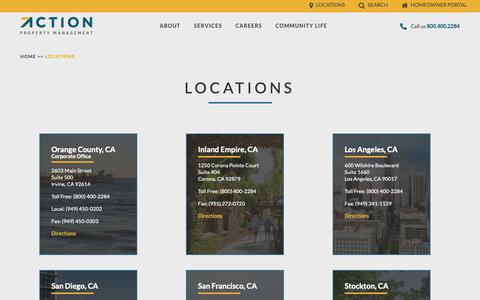 Screenshot of Locations Page actionlife.com - Locations | Action Property Management - captured Oct. 3, 2018