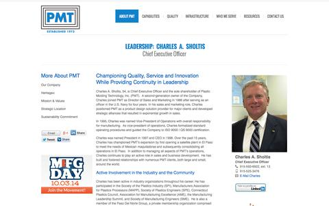 Screenshot of Team Page pmtinc.com - Charles A. Sholtis – CEO of Plastic Molding Technology, Inc. – Plastic Injection Molding Company  – Precision Plastic Molding  –  El Paso, TX – Juarez, NM - captured Oct. 2, 2014