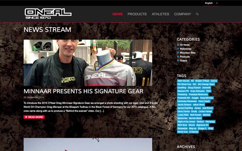 Screenshot of Press Page oneal-europe.com - O'Neal Europe | News Stream - captured Sept. 30, 2014