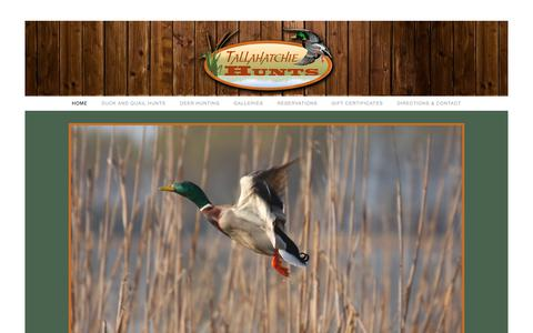 Screenshot of Home Page tallahatchiehunts.com - Duck, Quail, and Deer Hunts - Tallahatchie Hunts - captured Sept. 21, 2018