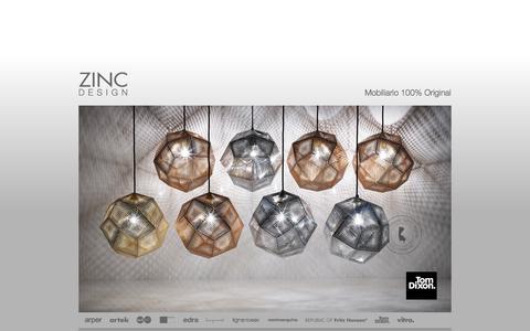 Screenshot of Home Page zinc.com.uy - Zinc Design / Mobiliario 100% Original - captured Oct. 7, 2014