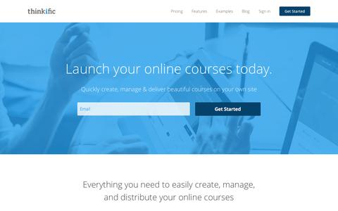 Screenshot of Home Page thinkific.com - Sell online courses on your own site - Thinkific.com - captured Oct. 1, 2015