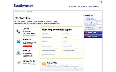 Screenshot of Contact Page southwest.com - Southwest Airlines - Contact Us - captured Oct. 29, 2014