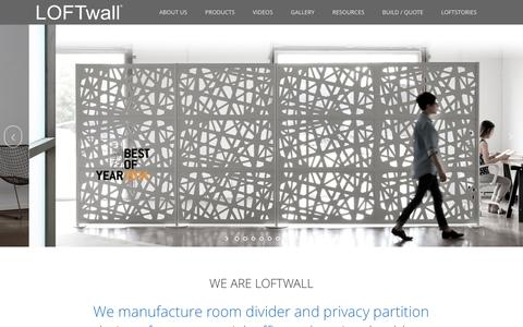 Screenshot of Home Page loftwall.com - Modern Room Dividers and Partitions for Lofts, Offices - captured May 12, 2017