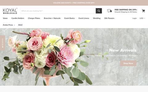 Screenshot of Home Page koyalwholesale.com - Koyal Wholesale DIY Wedding Supplies & Personalized Party Decorations - captured Feb. 20, 2019