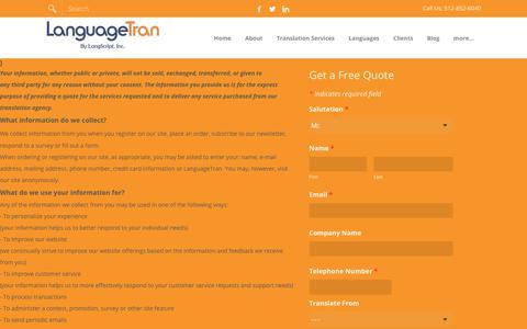 Screenshot of Privacy Page languagetran.com - LanguageTran Translation Agency Privacy Policy - LANGSCRIPT - captured Dec. 7, 2018