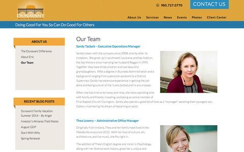 Screenshot of Team Page dunavantwealth.com - Our Team at Dunavant Wealth Strategies | Wealth Management Firm - captured Oct. 5, 2014
