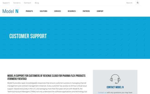 Screenshot of Support Page modeln.com - Support Services - Model N - captured April 19, 2017