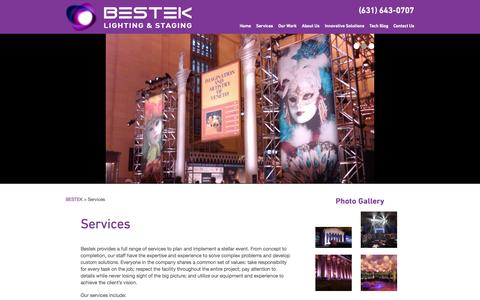 Screenshot of Services Page bestek.com - Full range of services to plan and implement a stellar event - captured Oct. 5, 2014
