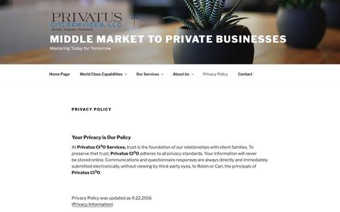 Screenshot of Privacy Page prcio.com - Privacy Policy – Middle Market to Private Businesses - captured Nov. 11, 2018