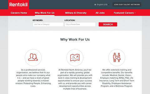 Screenshot of Jobs Page rentokil-steritech.com - Why Work For Us - captured Oct. 26, 2018