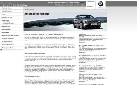Screenshot of About Page spirehighgatebmw.co.uk - About Us | Spire of Highgate - East Finchley | Authorised BMW Dealer - captured Oct. 27, 2014