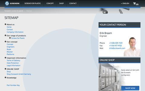Screenshot of Site Map Page screwerk.com - Screwerk page summary - captured June 16, 2017
