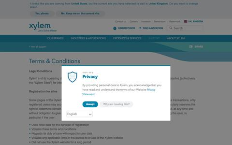 Screenshot of Terms Page xylem.com - Terms and Conditions - Xylem Inc.   Xylem UK - captured July 15, 2018