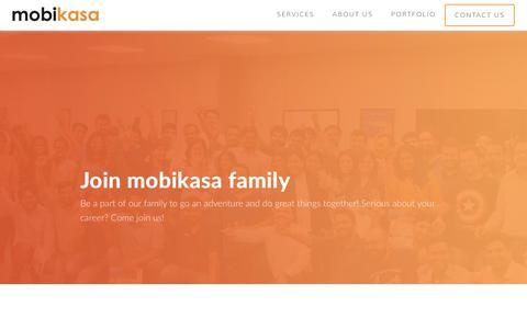 Screenshot of Jobs Page mobikasa.com - Careers - Mobikasa - captured Sept. 21, 2018