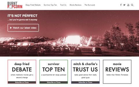 Screenshot of Home Page burnt-popcorn.com - Home - Burnt Popcorn Podcasts - captured Sept. 13, 2015