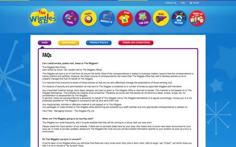 Screenshot of FAQ Page thewiggles.com - The Wiggles - captured Sept. 25, 2014