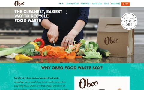 Screenshot of Home Page weareobeo.com - Obeo - Fuss-Free Food Waste Recycling - captured Dec. 27, 2016