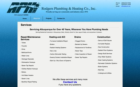 Screenshot of Services Page rphi.biz - Rodgers Plumbing and Heating - Albuquerque, NM - Services - captured Oct. 6, 2014