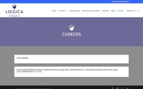 Screenshot of Jobs Page loigica.com - CAREERS - Loigica - captured Oct. 8, 2016