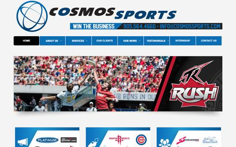 Screenshot of Home Page cosmossports.com - Sports Marketing Toronto - Canada, Branding, Ticket Sales, Consulting, Sponsorship | Cosmos Sports - captured Jan. 28, 2016