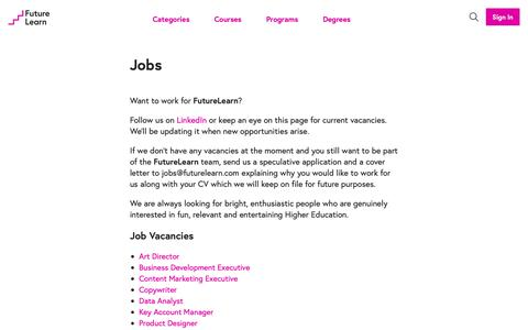 Screenshot of Jobs Page futurelearn.com - Jobs - FutureLearn - captured Sept. 28, 2018