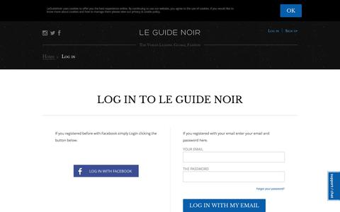 Screenshot of Login Page leguidenoir.com - Le Guide Noir - captured Nov. 3, 2014