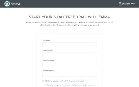 Screenshot of Trial Page myemma.com - Start Your Free Trial | Emma Email Marketing - captured June 5, 2018