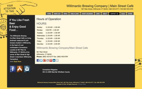 Screenshot of Hours Page willibrew.com - Willimantic Brewing Company & Main Street Cafe | CT Restaurant | Hours - captured Nov. 16, 2018