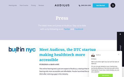 Screenshot of Press Page audicus.com - Audicus says… - captured Nov. 4, 2018