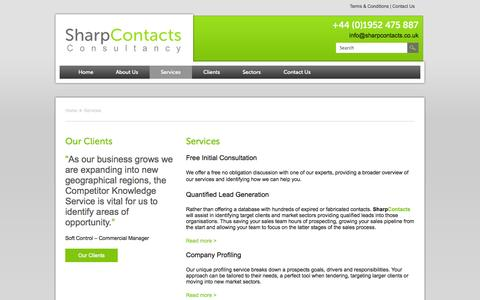 Screenshot of Services Page sharpcontacts.co.uk - Services | Sharp Contacts - captured Oct. 9, 2014