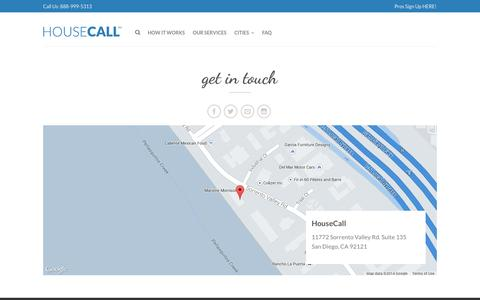 Screenshot of Contact Page tryhousecall.com - Contact Us | HouseCall - captured Sept. 16, 2014