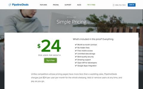 Screenshot of Pricing Page pipelinedeals.com - Pricing | PipelineDeals - captured Sept. 18, 2014