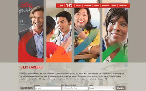 Screenshot of Jobs Page lilly.com - Working at Lilly | Jobs and Careers at Lilly? - captured March 29, 2016