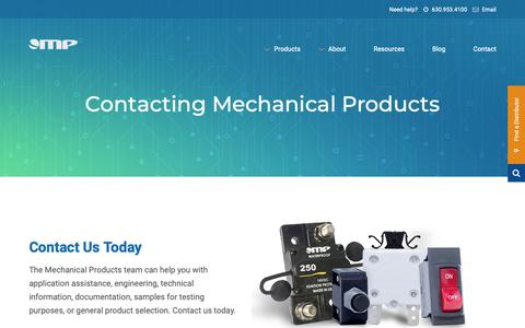 Screenshot of Contact Page mechprod.com - Contact | Mechanical Products - captured Oct. 2, 2018