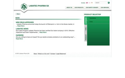 Screenshot of Press Page labatecpharma.com - News | Labatec Pharma SA - captured Oct. 1, 2014