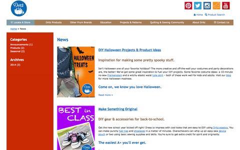 Screenshot of Press Page dritz.com - News | Dritz Quilting, Sewing & Crafting Supplies - captured Sept. 19, 2014