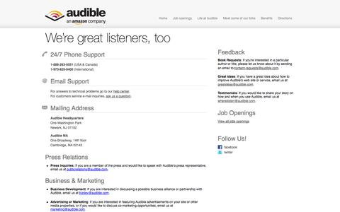 Screenshot of Contact Page audible.com - We're great listeners, too « About Audible - captured Sept. 19, 2014