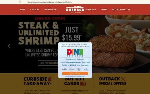 Screenshot of Home Page outback.com - Outback Steakhouse - captured Oct. 2, 2015